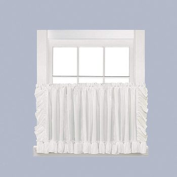 New SKL Home by Saturday Knight Ltd. Sarah Tier Curtain Pair with Tiebacks 82 inches x 36 inches White