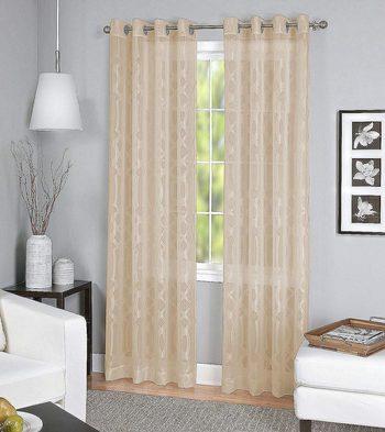 "New Elrene Home Fashions Grommet Top Sheer Ironwork Damask Single Panel Window Curtain Drape, 52"" x 84"", Taupe"