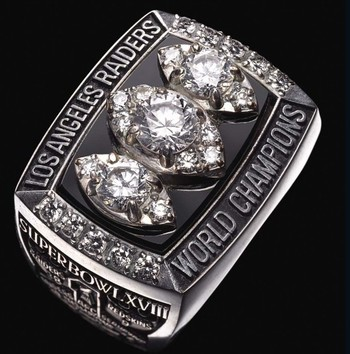 Los Angeles Raiders 1984 Super Bowl XVIII Championship Replica Ring Size 10