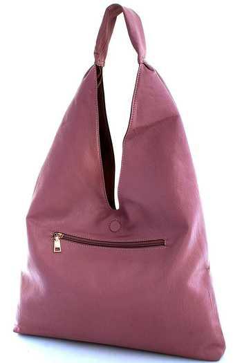 New VEGAN Reversible Hobo Bag Handbag (Pink and Grey)