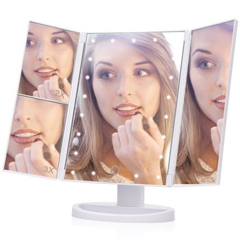 EECOO 21 Led Lights Trifold Vanity Mirror with Touch Button,1X 2X 3X Magnification