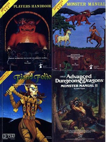 4 Vintage Books AD&D Monster Manual Dungeons & Dragons Circa 1978