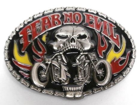Fear No Evil Metal Belt Buckle