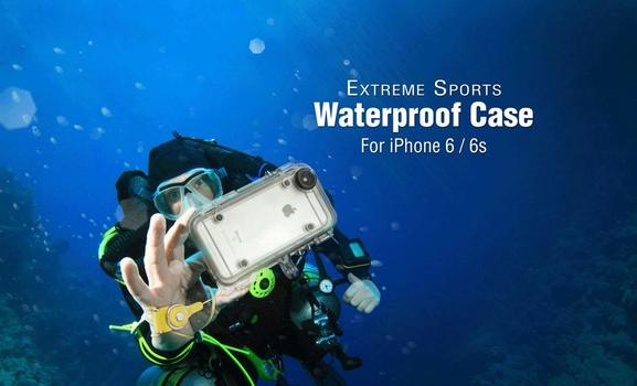 Waterproof Case For iPhone6, 6S with 170° Wide Angle Lens,Shock Proof Compatible with GoPro Accessories + Head Strap + Adjustable Handle Bar Bike Camera Mount