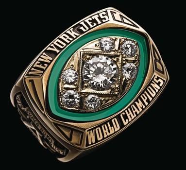 New York Jets 1968 Super Bowl III Championship Replica Ring Size 12