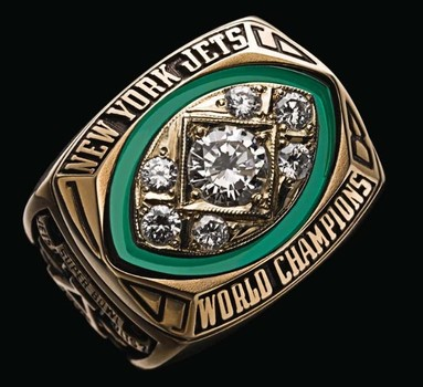 New York Jets 1968 Super Bowl III Championship Replica Ring Size 11