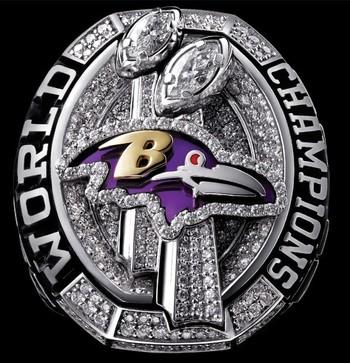 Baltimore Ravens Super Bowl XLVII World Championship Replica Ring Size 9
