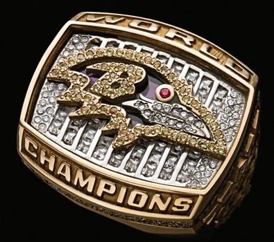 NFL Baltimore Ravens Super Bowl XXXV Replica Ring Size 11