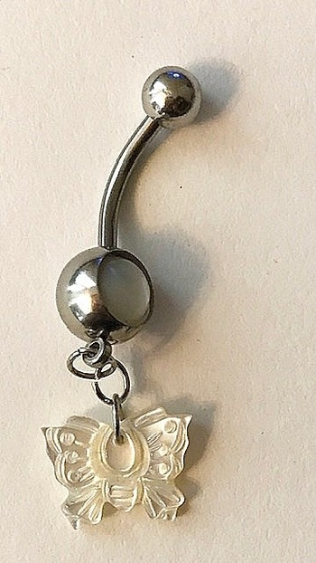New Mother Of Pearl Butterfly Belly Ring