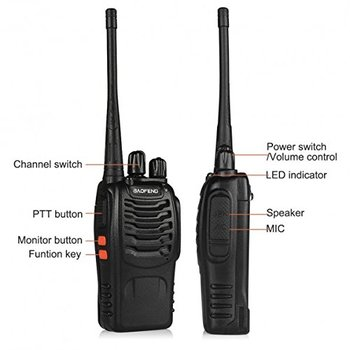 New 2 Pieces BaoFeng Walkie Talkie with Rechargeable Battery Headphone Wall Charger Long Range 16 Channels Two Way Radio