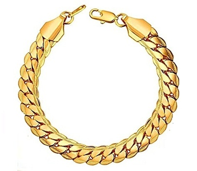 New 18K Gold Plated Unisex Italian Cuban Curb Link Bangle Bracelet
