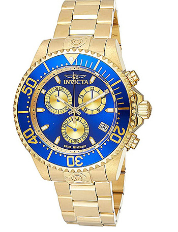 New Men's Pro Diver Quartz Diving Watch with Stainless-Steel Strap, Gold