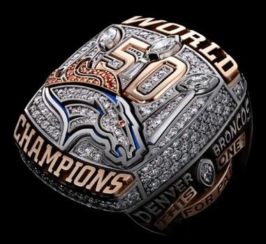 NFL Denver Broncos 2015 Super Bowl 50 Championship Replica Ring Size 12