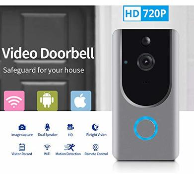Smart Wireless WiFi Video Doorbell HD Security Camera with PIR Motion Detection Night Vision Two-Way Talk and Real-time Video Suitable etc Video Doorbell)