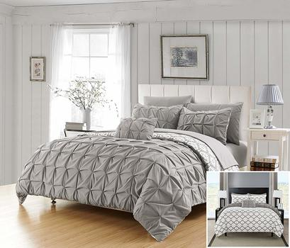 Chic Home 3 Piece Cassiopea Pleated Pintuck and printed REVERSIBLE with Elephant Embroidered pillow Twin Duvet Cover Set Grey