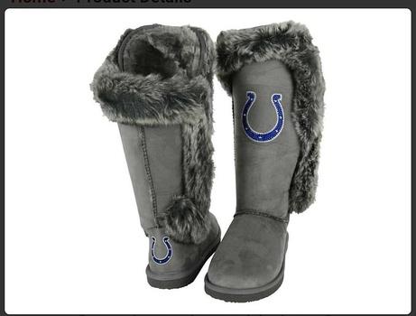 New Indianapolis Colts NFL TEAM Ladies Boots, Size 8 Faux Fur Retail $129.00