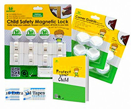 Baby & Child Proof Cabinet & Drawers Magnetic Safety Locks Set of 8 Locks And 3 Keys - Heavy Duty Locking System with 3M Adhesive Tape Easy To Install Without Damaging Your Furniture