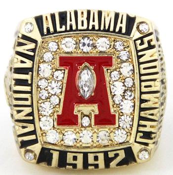 Alabama Crimson Tide NCAA Football 1992 Championship Replica Ring Size 9