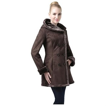 """New BGSD Women's """"Cindy"""" Hooded Faux Shearling Coat, Size X-Large"""