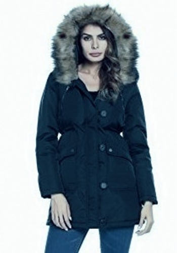 New A.N.A.Faux Fur Jacket With Removable Hoodie and Cozy Inside Size Small NAVY Retail $200.00