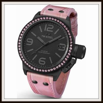 TW STEEL Canteen Black Dial Swarovski Crystal Bezel Pink Leather Ladies Watch 45mm Retail $550.00