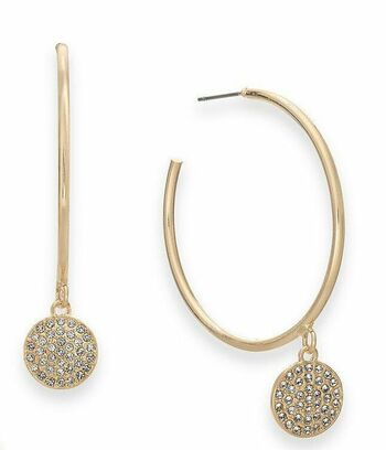 Thalia Gold-Tone With Crystal Hoop Earrings