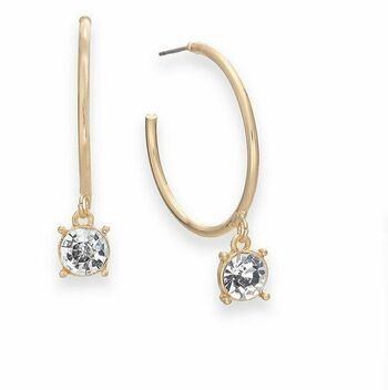 Thalia Gold-Tone With Crystal Hoop Earrings
