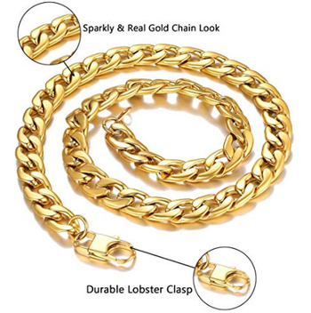 New Mens Sturdy Cuban Chain Necklace Gold Plated