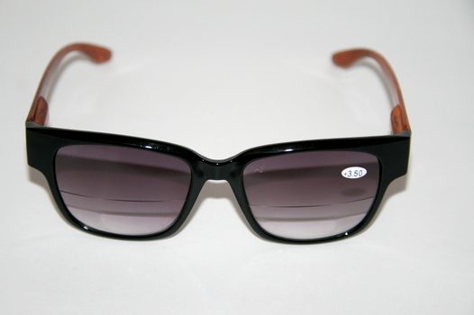 New Joy Mangano Bifocal Glasses Black With Wood Style Arms +3.5 Prescription Black
