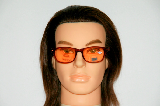 New Joy Mangano Reading Glasses Orange Lens And Frame With Wood Style Arms +3.5 Prescription