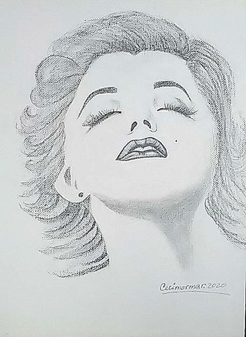 "Original Drawing Signed by Artist On Hard Canvas ""Marilyn Monroe"""