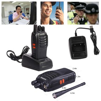 BaoFeng BF-888S USB Rechargeable Walkie Talkies Long Range 16 Channels Two Way Radios With Earpiece - 2 Pack