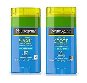 2 Pack - Neutrogena CoolDry Sport Sunscreen Stick with Broad Spectrum SPF 50+, Sweat- & Water-Resistant Sunscreen with Oil- & PABA-Free Formula, 1.5 oz