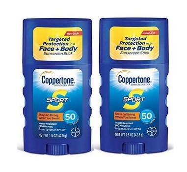 2 Pack - Coppertone SPORT Sunscreen Stick Broad Spectrum SPF 50, 1.5-Ounce