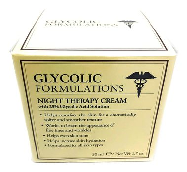 New Glycolic Formulations Night Therapy Cream with 25 Percent Glycolic Acid 50ml 1.7oz MADE IN ITALY