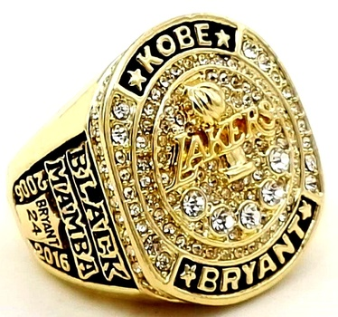 NBA Kobe Bryant LA Lakers Retirement Replica Ring Size 11