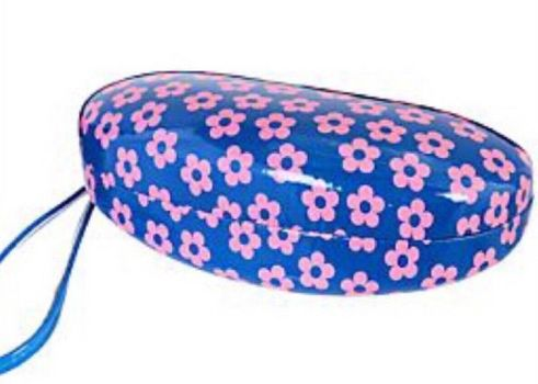 NWT Kensie FLORAL Blue Clamshell Hard Sunglasses Case Wristlet Strap