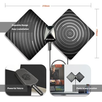 New Indoor TV Antenna 50 Mile Range Ultra-Thin,High Performance Coax Cable, With Detachable Amplifier Signal Booster BFDT01