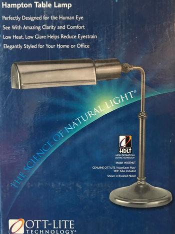 SUN Lamp OTT-LITE Vision Saver Plus Hampton Table Lamp Retail $199.99