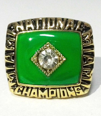 New Miami Hurricanes Brown 1987 College Football National Championship Replica Ring Size 10