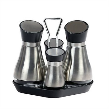 Stor'n Style 5 Piece Stainless Steel And Glass Condiment Set