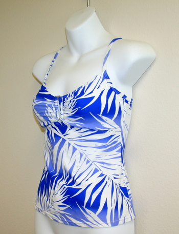 New Upper Part Jaclyn Smith Blue Palm Bathing Suit Top Size 6