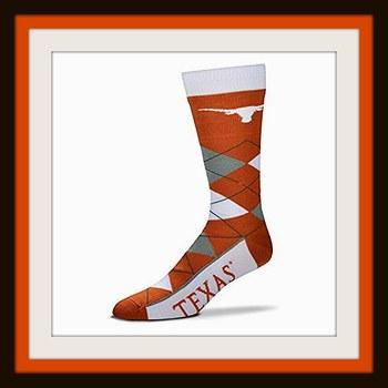 NCAA Texas Longhorns Argyle Crew Socks Size OSFM