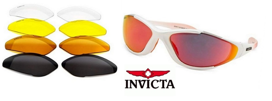 New Made In Italy Invicta Men's Oval White Sunglasses (Exchangeable Lenses)