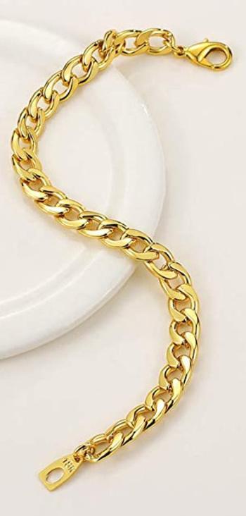New 18K Gold Plated Unisex Figaro Bracelet