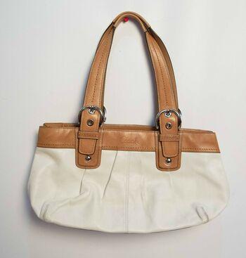 Coach Signature  Shoulder Handbag Purse F13732