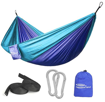 New Hammock Single Double Camping Portable Parachute Hammock for Outdoor Hiking Travel Backpacking - Nylon Hammock Swing - Support 400lbs Ropes Carabiners