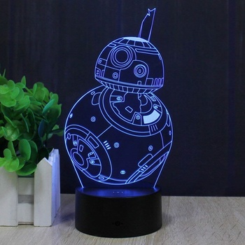 New 3d Lamp Fuwa Force Awaken Bb-8 Night 7 Color Change Night Light LED