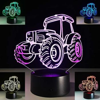 New 3D Tractor Night Light 3D LED USB 7 Color Change LED Table Lamp