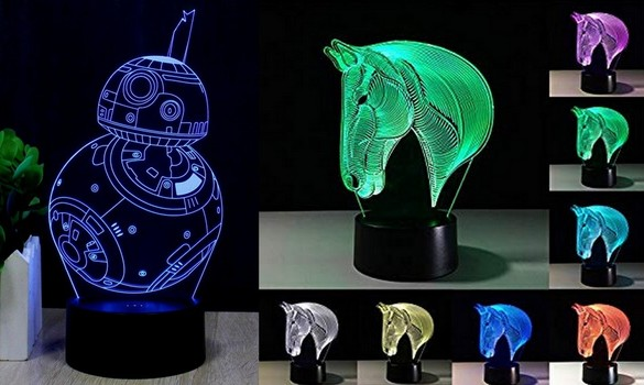 2 Pieces New 3D Horse And Fuwa Force Awaken Bb-8 Night Light 3D LED USB 7 Color Change LED Table Lamp